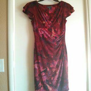 Lauren Ralph Lauren Floral Ruched Faux Wrap Dress